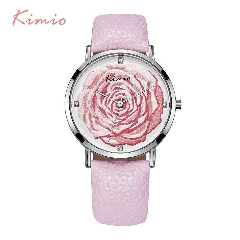 KIMIO Flor Rose 3D Rhinestone Señoras Reloj de Cuarzo Vestido de Las Mujeres Mira a Las Mujeres Reloj de La Manera 2017 de la Marca de Lujo de Cuero Elegante