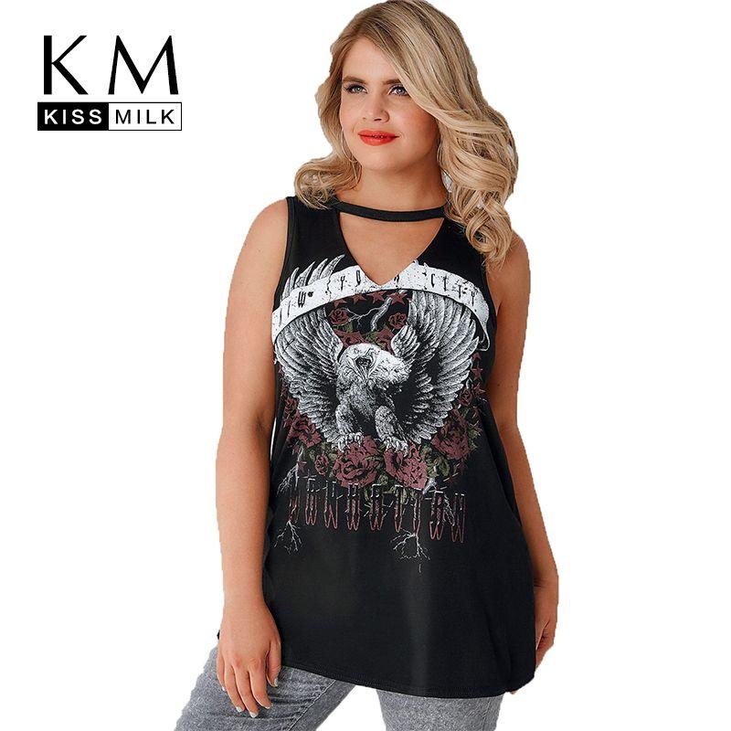 Kissmilk grande taille Chocker sans manches découpé graphique imprimé T-shirt 2018 femmes vêtements décontracté hauts réservoir 3XL-7XL