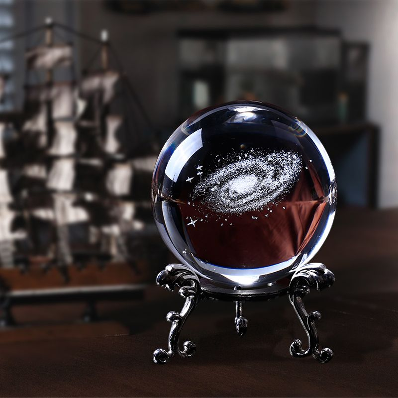 60mm 3D Laser Engraved Galaxy Glass Ball Crystal Miniatures Boy Gifts Sphere Home Decoration Accessories Globe Universe Present