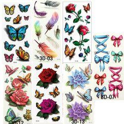 Sementara Tato Stiker Transfer Tato untuk Tubuh Seni Bunga Keren 3D Tahan Air Sementara Tato untuk Anak Perempuan Tato Palsu