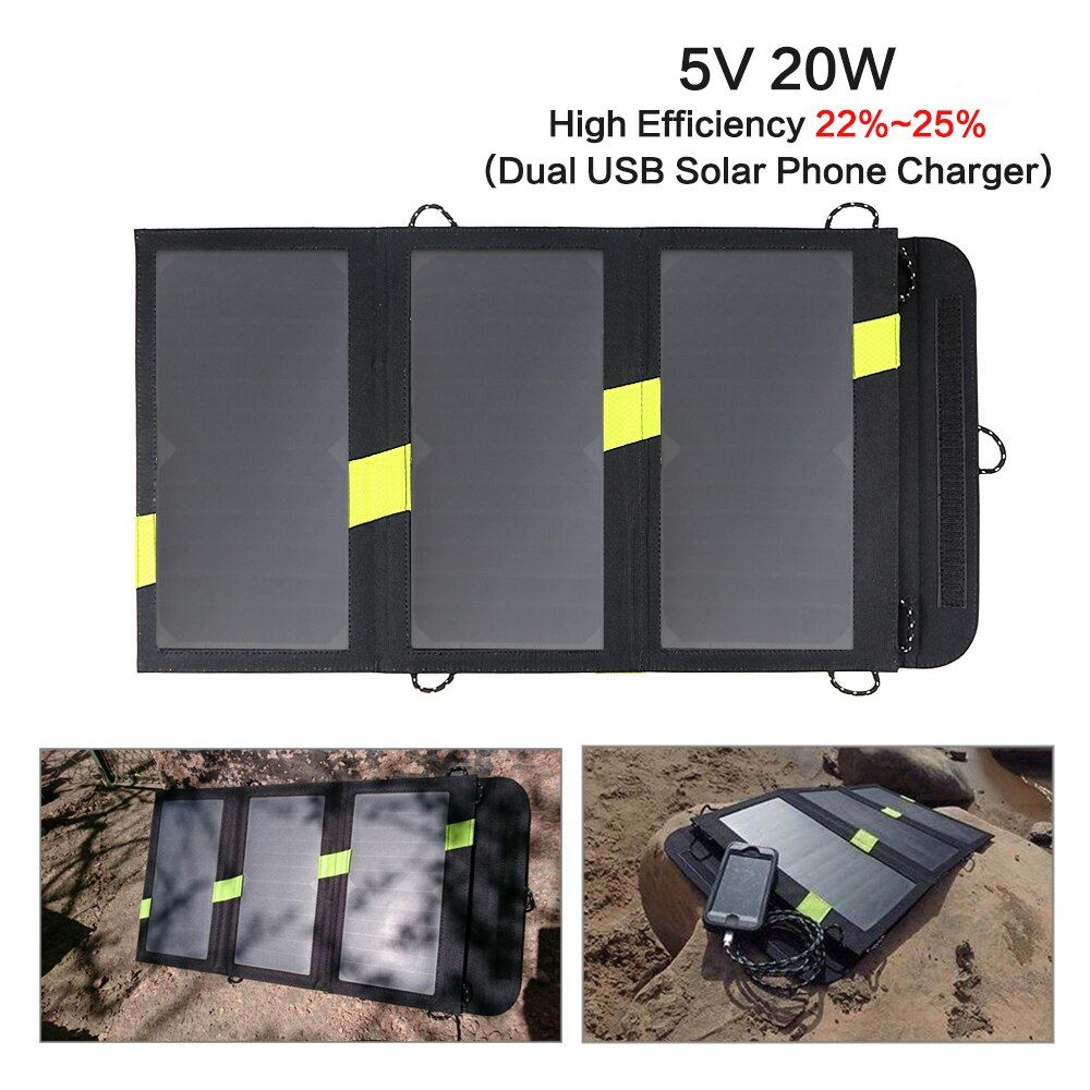 5V 20W Foldable Solar Charger Waterproof Solar Panel Power Charger Foldable Power Bank for Smartphones Camping Outdoor