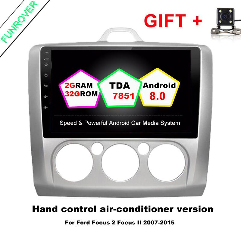2 din Android 8.0 car dvd radio video player 2G+32G 9 inch for Ford Focus 2004 - 2011 wifi BT navigation Quad Core map 4G FM RDS