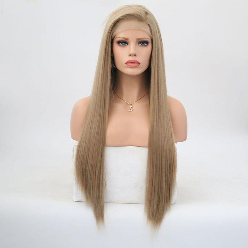 Rongduoyi longue soyeuse cheveux raides synthétique dentelle avant perruque Ash Blonde partie latérale Cosplay sans colle 13x3 dentelle avant perruques pour les femmes
