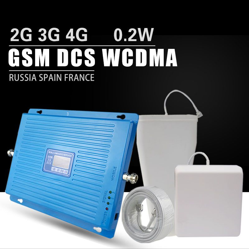 600m2 2G 3G 4G Cellular Signal Booster GSM 900 DCS LTE 1800 WCDMA 2100mhz Repeater 70dB Gain 4G LTE 1800 Amplifier Antenna Set