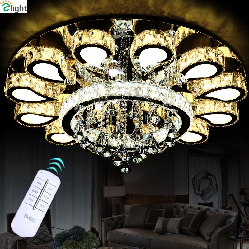 Remote Controller Dimmable Led Plated Chrome Mirror Steel Ceiling Chandelier Modern Luxury Lustre Cristal Led Round Chandelier