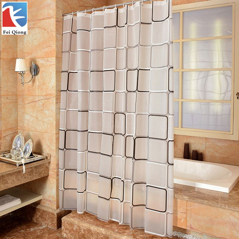 Feiqiong Brand Waterproof Shower Curtain With Hook Plaid Bathroom Curtains High Quality Bath Bathing Sheer For Home Decoration