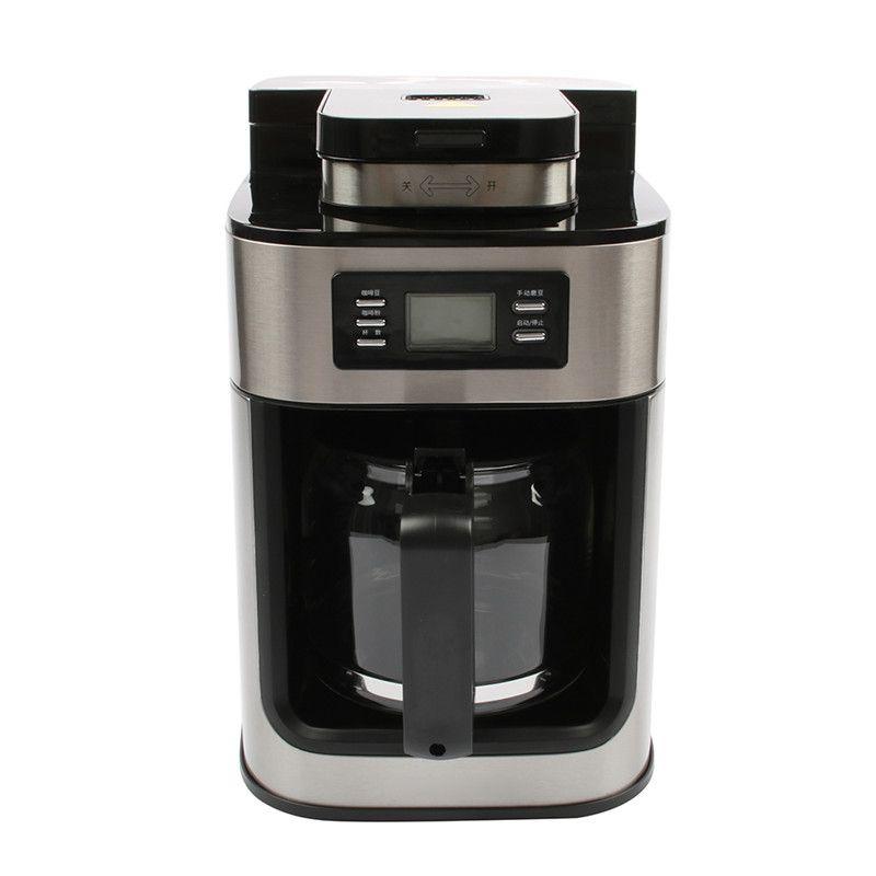 DMWD 1.2L Elektrische Kaffee Maschine Amerikanische Kaffee Maker Automatische Kaffeemühle Mit Topf Für Büro Partei Digital Display 220 v