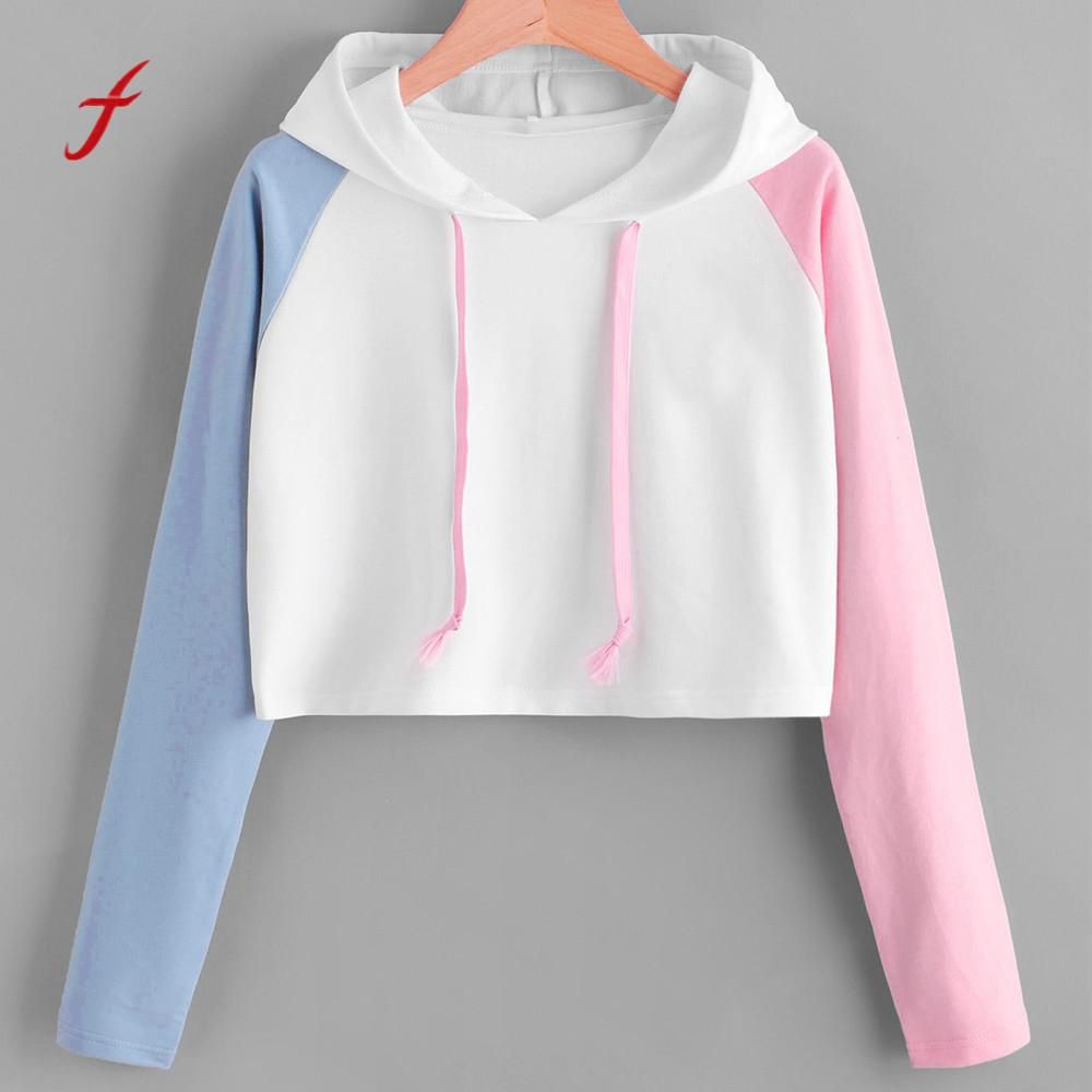 FEITONG Female sweatshirt Fashion Girl Patchwork Long Sleeve Casual Crop Jumper Pullover Tops Autumn Winter High Quality Hoody