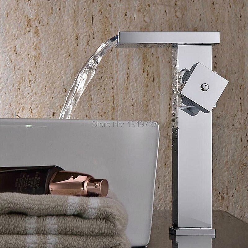 2016 Factory Direct 100% Lead Free Stainless Steel Square Style Single Hole Basin Mixer Tap Chrome Bathroom Waterfall Faucet