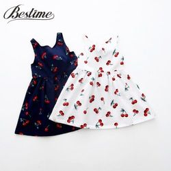 Musim Panas Gadis Gaun Anak Katun Tanpa Lengan Gaun Cherry Gambar Anak-anak untuk Gadis Fashion Anak Perempuan Pakaian