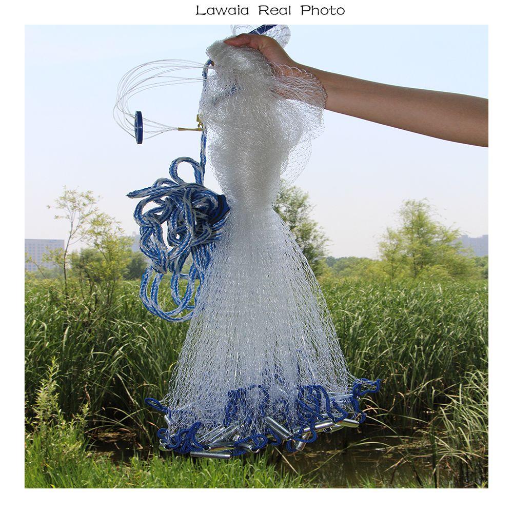 Lawaia schwarz cast net Amerikanischen stil cast net hand werfen angeln net mit platinen outdoor sport angeln netzwerk werkzeug