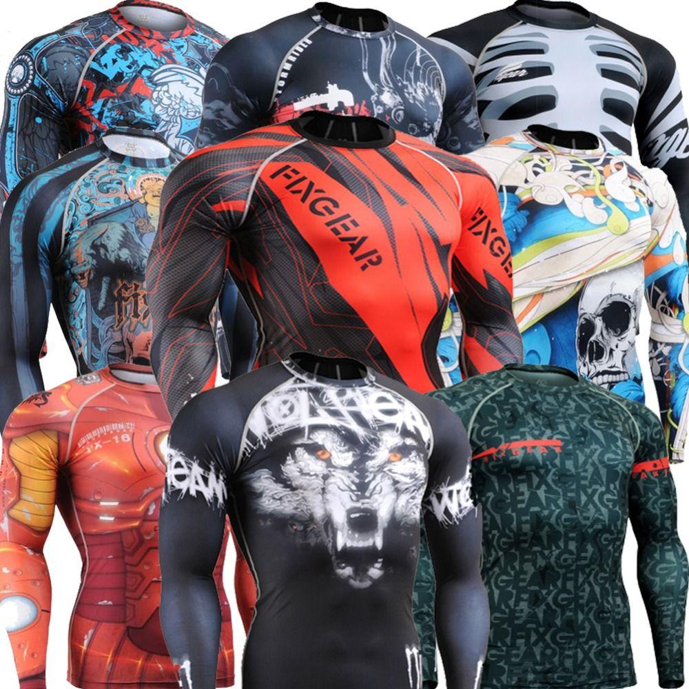 Crossfit мужская фитнес-одежды с длинным рукавом тройник сжатия тренировки футболки спортивный зал тренировочные топы мма упражнения йоги