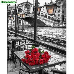 Главная красота DIY картина маслом по номерам настенное изображение на холсте Раскраска по номерам кисть рисунок роза ручная роспись ремесл...