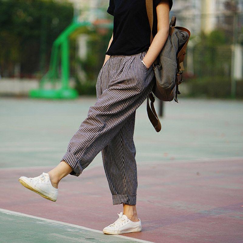 Trousers For Women 2018 Summer Autumn Women's Linen Pants Loose Trousers Female Brand Harem Pants Striped Trousers 2 Colors S183