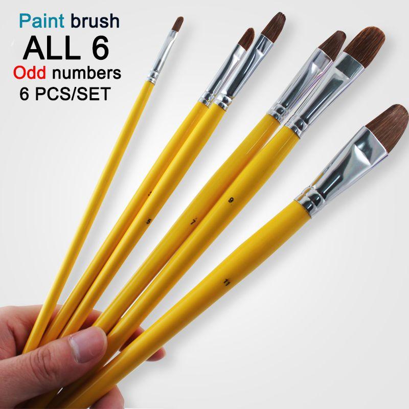 Livraison gratuite 6 Pcs odd numbers artiste loup cheval peinture de brosse à cheveux Set acrylique peinture à l'huile aquarelle fournitures d'art