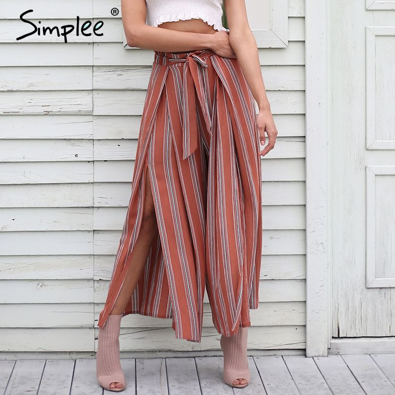 Simplee High split stripe <font><b>wide</b></font> leg pants women Summer beach high waist trousers Chic streetwear sash casual pants capris female