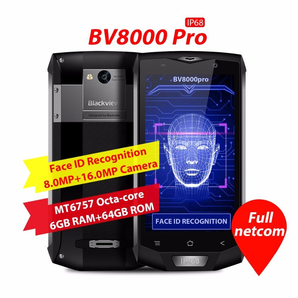 Blackview BV8000 Pro 5,0 zoll FHD IP68 Wasserdicht Telefon MTK6757 Octa Core Android 7.0 6 GB RAM 64 GB ROM 16MP Stoßfest Handy NFC