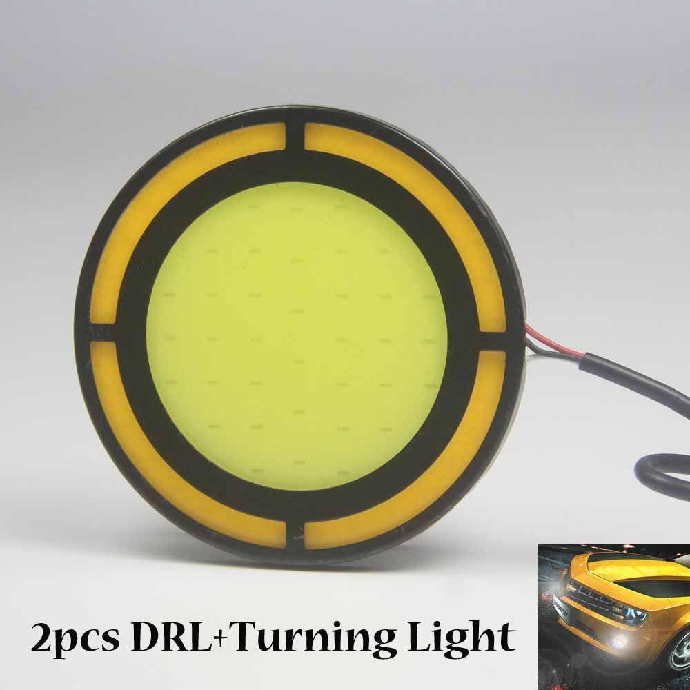 2 Unids 73 MM COB LED DRL Daytime Running Lights DC12V Externo impermeable Led Car Styling Fuente de Luz de Estacionamiento Del Coche de Niebla Girando lámpara