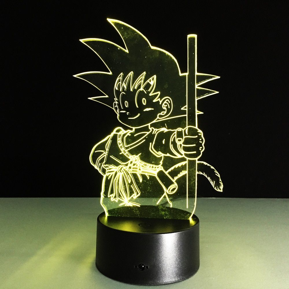 Figurine de boule de Dragon d'anime 3D LED lampe de nuit Son Goku coloré USB LED éclairage acrylique figurine d'action de boule de Dragon