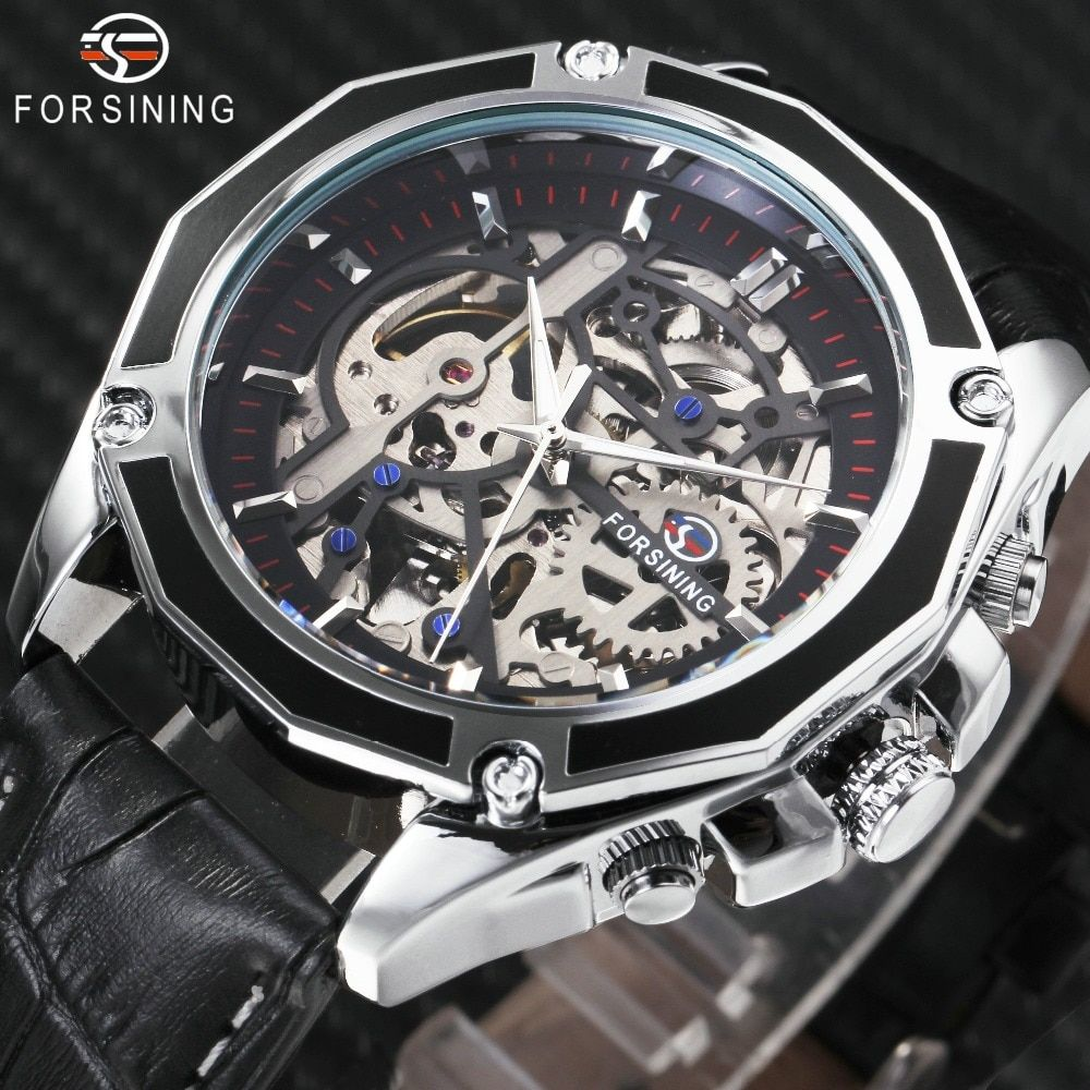 FORSINING 2018 Auto Mechanical Watch Men Leather Strap Fashion Mens Watches Top Brand Luxury WINNER Golden Skeleton Automatic