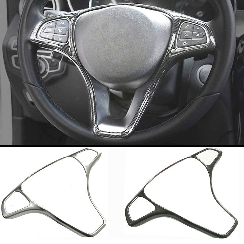 Modified steering wheel button trim sticker frame sticker decoration accessories for Mercedes Benz W205 W213 GLA GLC C E A Class