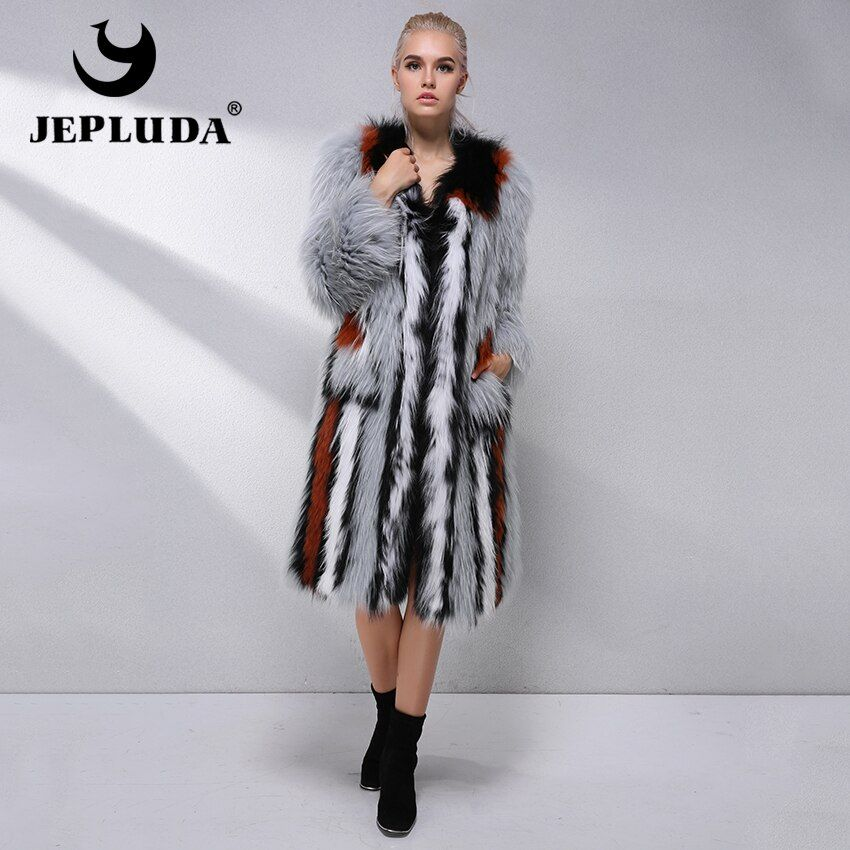 JEPLUDA Real Fur Coat Women Natural Fox Fur Coats Female Fox Parkas Outwear Women's Light Luxury Fur Coat Autumn Winter Jacket
