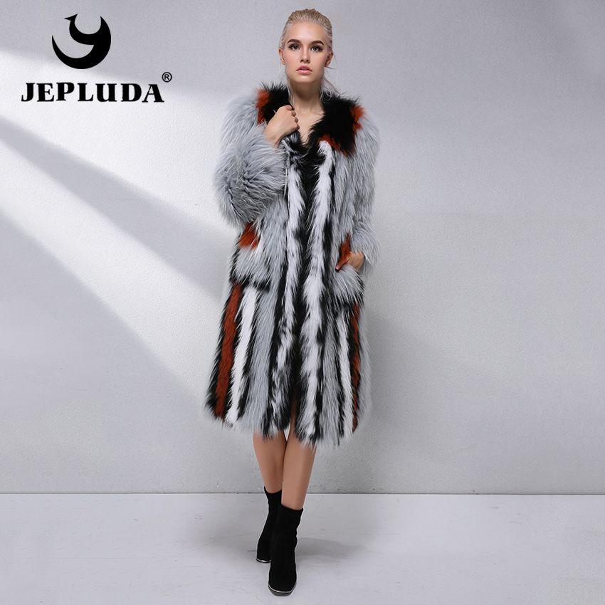 JEPLUDA Real Fur Coat Women Natural Fox Fur Coats Female Fox Parkas Outwear Women's Light Luxury Fur Coat Autumn Winter Jacket