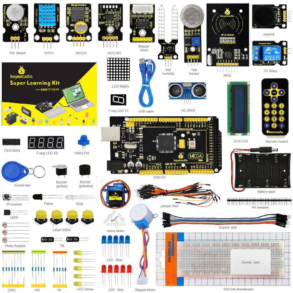 Keyestudio Super Starter Kit/Learning Kit for Arduino Starter Kit With Mega2560R3/LCD1602/RFID/Relay/DS3231 +PDF+32Projets &STEM