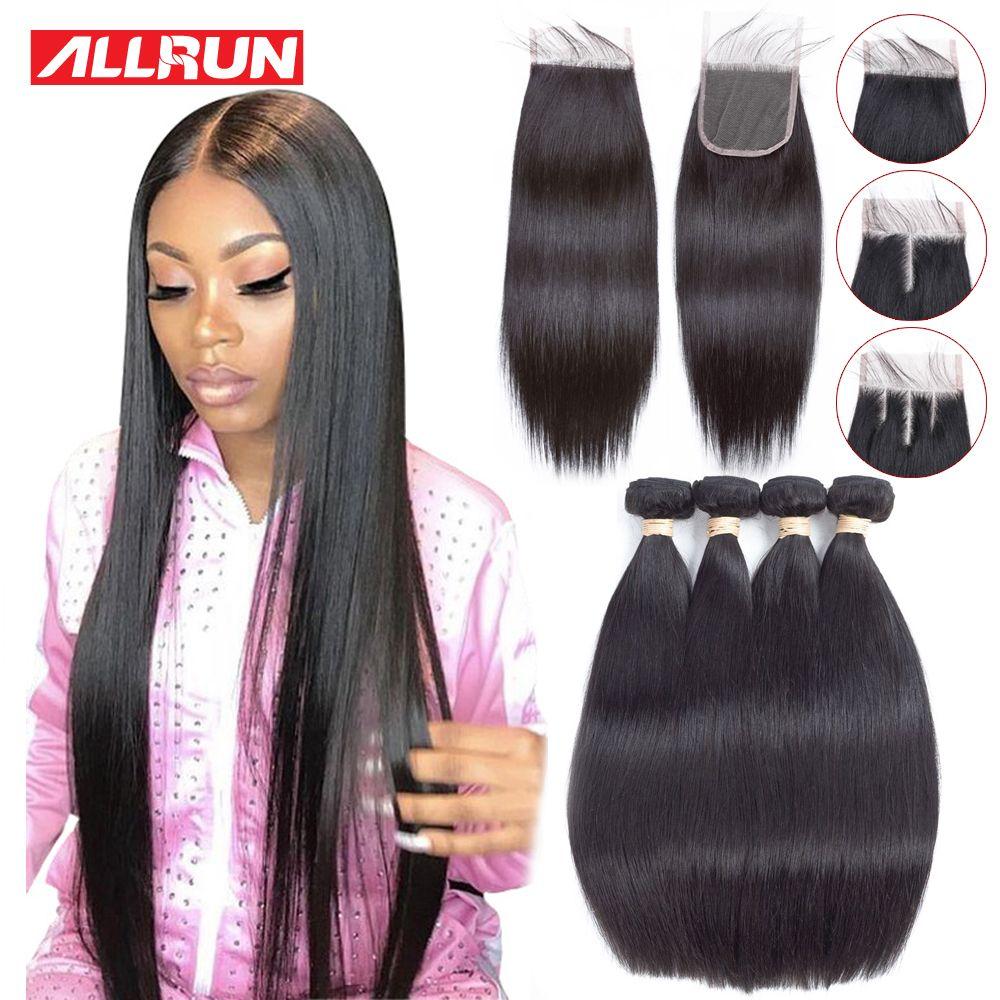 Allrun paquets de cheveux raides avec fermeture cheveux brésiliens tissés paquets de cheveux humains avec fermeture Extensions de cheveux Non Remy