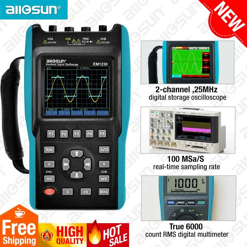 2in1 Handheld Oscilloscope 2 Channels with Color Screen Scope Digital Multimeter DMM Meter EM1230 all-sun