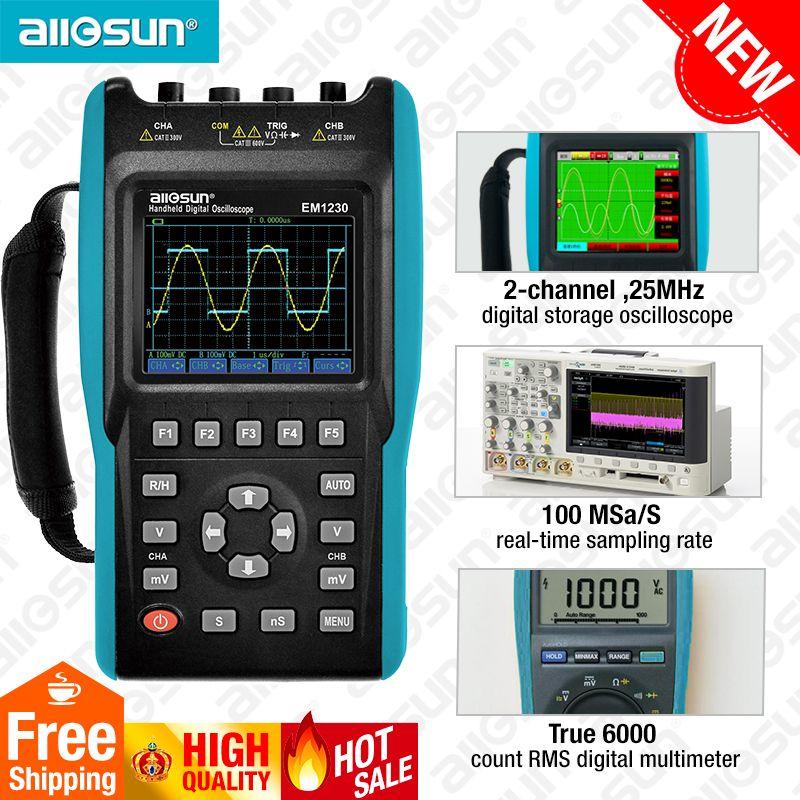 2in1 Handheld Oszilloskop 2 Kanäle mit Farbe Bildschirm Bereich Digital Multimeter DMM Meter EM1230 alle-sonne