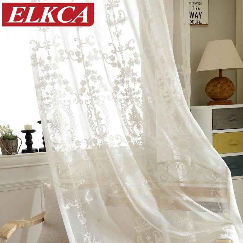 Européenne Blanc Brodé Voile Rideaux Chambre Voilages pour Salon Tulle Fenêtre Rideaux/Panneaux Fenêtre Dépistage