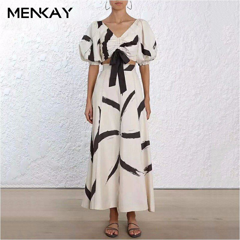 [MENKAY] Print Two Piece Suit Female V Neck Lace Up Lantern Sleeve Pullover Top High Waist Zipper Ruched Long Skirts 2018
