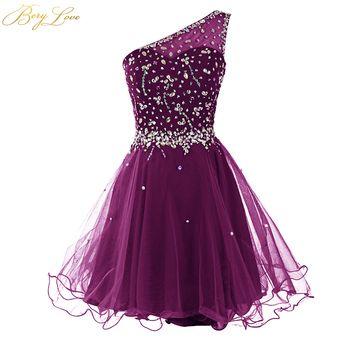 BeryLove Short Grape Purple One Shoulder Graduation Dresses 2019 Mini Beading Tulle Homecoming Dresses Style Mini Party Dresses