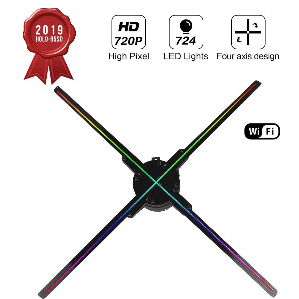 65 CM WIFI 3D Hologramm Projektor Fan Z3, Vier Axil Design Video Projektor, LED Display Werbung Holographische Licht, APP Control