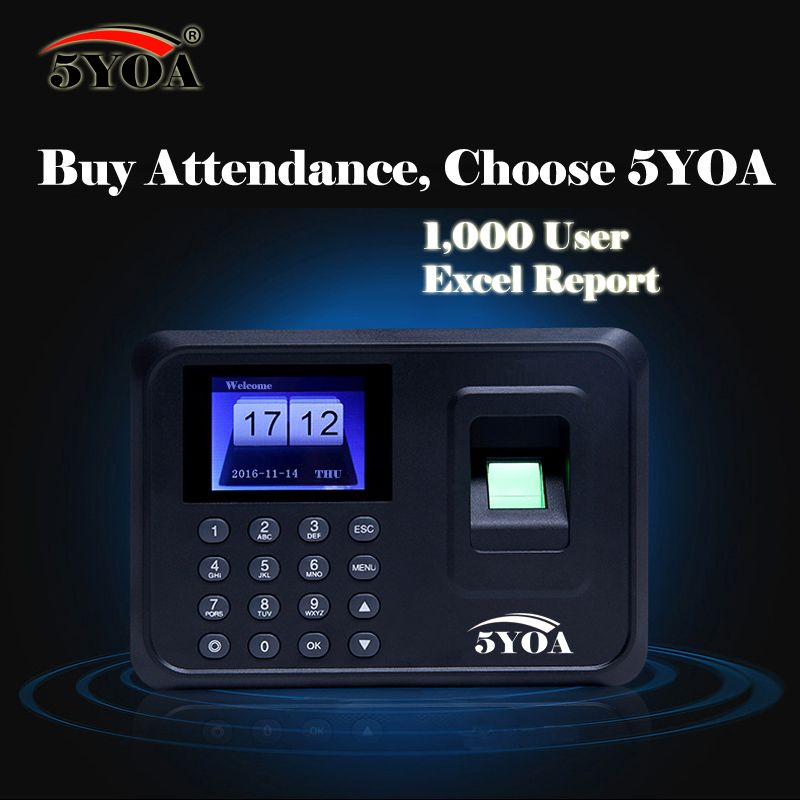 5YOA A01FY 1000Users biometric fingerprint punch usb time clock office attendance recorder timing employee machine reader