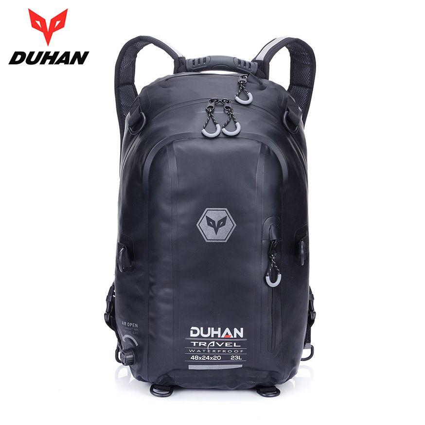 DUHAN Black Motorcycle Bag Waterproof Motorcycle Backpack Touring Luggage Bag Motorbike Helmet Bags Moto Magnetic Tank Bag