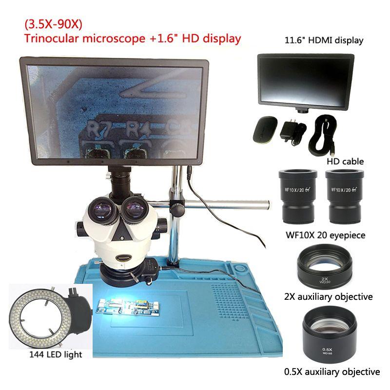 Neue 3,5-90X trinocular stereo mikroskop + 11,6 zoll HDMI digital industrie mikroskop kamera display + 0.5X2X objektiv, reparatur werkzeuge