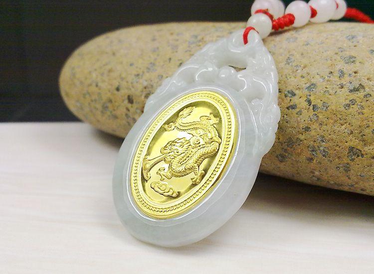 Популярные удачи дракон золото jade pendant для Для мужчин Для женщин Одежда высшего качества унисекс Цепочки и ожерелья
