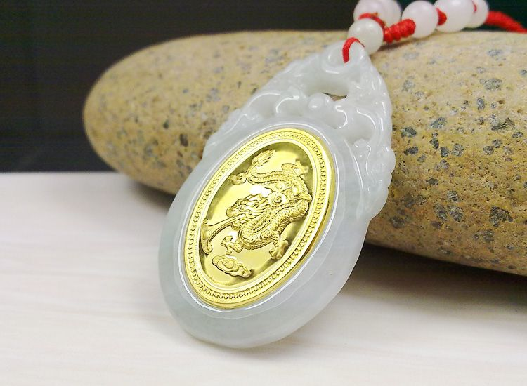 Popular Good Luck Dragon Gold Jade Pendant For Men Women Top Quality Unisex Necklace