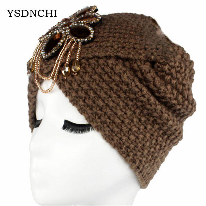 Crochet Headwrap For Women Ladies Jewel Wool Accessory Winter Warm Hats Floral Stretch Turban Soft Knit Female Beanie Cap M064