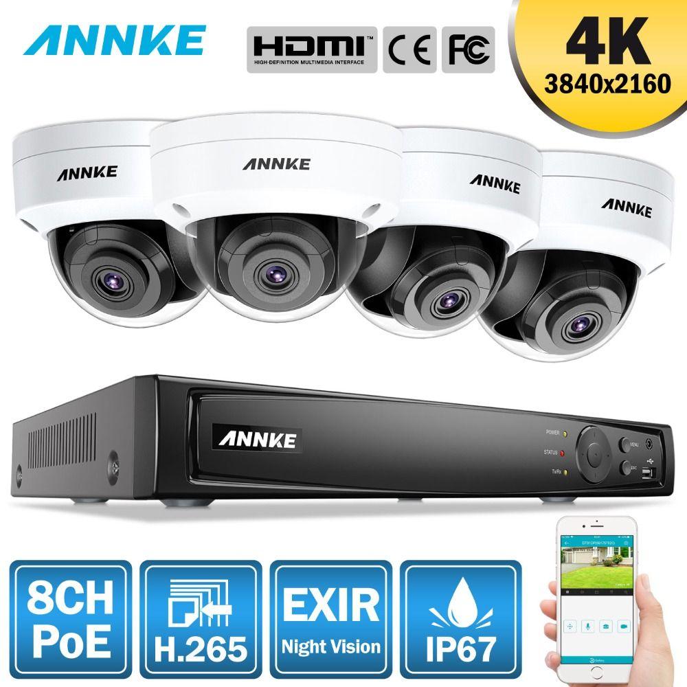 ANNKE 8CH 4 K Ultra HD POE Netzwerk Video Security System 8MP H.265 NVR Mit 4X8 megapixel 30 m EXIR Nachtsicht Wetterfeste IP Kamera