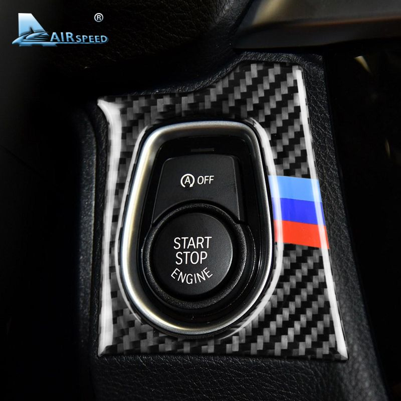 Airspeed Carbon Fiber Car Start Engine Button Frame Cover Stickers LHD for BMW F30 320i F34 GT 3 Series Accessories Car Styling