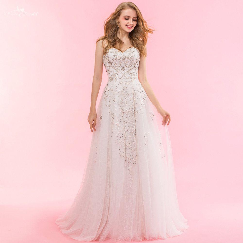 RSW1327 Reale Abbildungen Yiaibridal Eine Linie Tulle Mariage Perlen Kristall Hochzeit Kleid