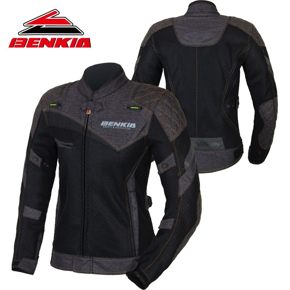 BENKIA Motorcycle Jacket Women's Motorcycle Suit Spring Summer Jacket Breathable Mesh Riding Clothes Ropa Moto Jackets JS-W11