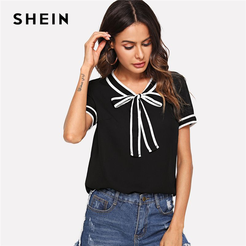 SHEIN Contrast Binding Tie Neck Top Black V Neck Short Sleeve Preppy Blouse Women Summer Fashion Elegant Casual Blouses