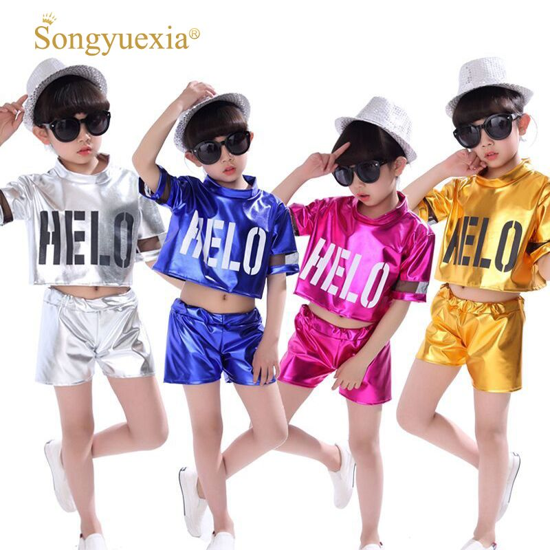 Children jazz dance costumes boys girls hip-hop modern dance performances children Stagewear Modern kid top +pants 4colors