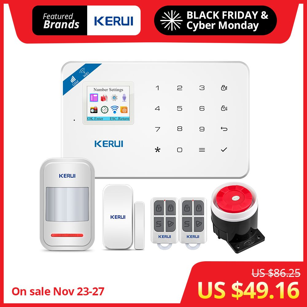 KERUI W18 1.7 Inch TFT Screen WIFI GSM Home Burglar Security Alarm System Motion Detector APP Control Fire Smoke Detector Alarm