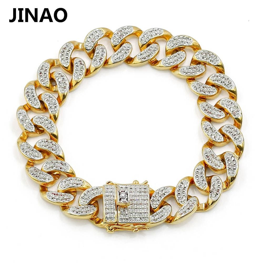 JINAO New Fashion <font><b>Gold</b></font> Color Plated Micro Pave Cubic Zircon Bracelet All Iced Out 8 Length Cuban Chain Hip Hop Jewelry For Male