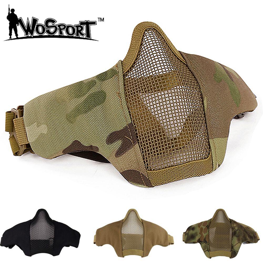 Masque de chasse Airsoft Moitié Inférieure Visage Métal Acier Net Maille Masque Tactique De Protection CS Domaine Wargame Cosplay Halloween Masque